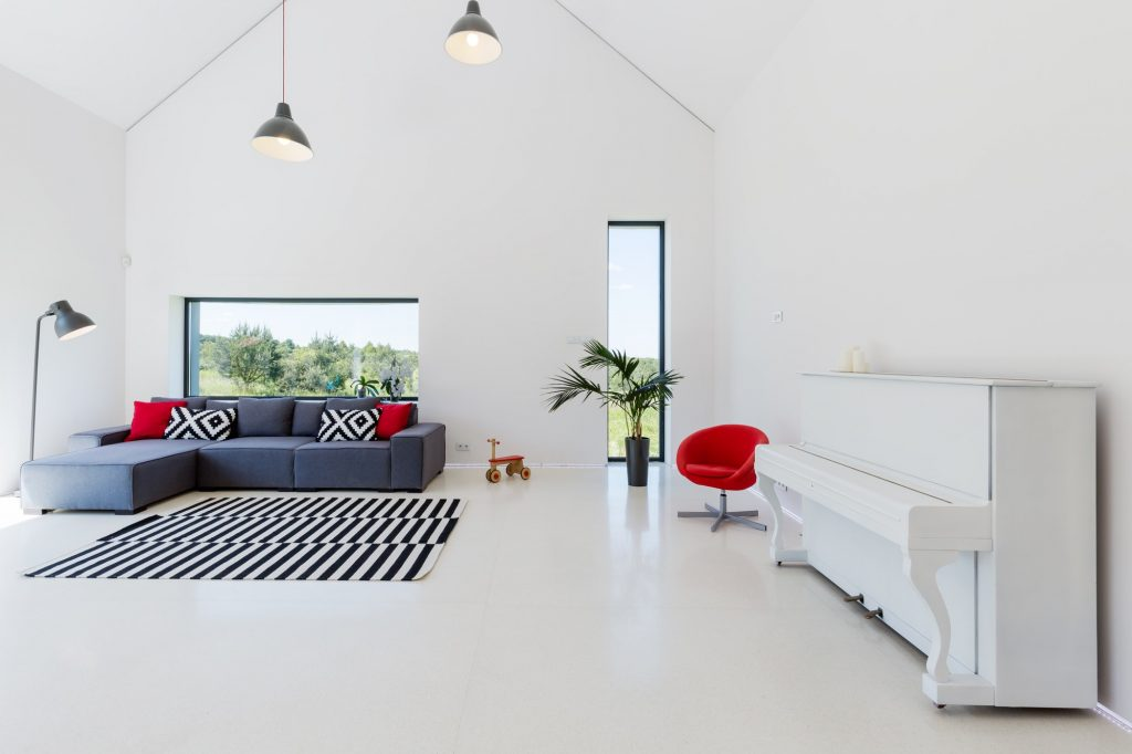 Spacious open room with sofa